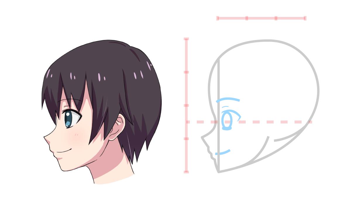 方 横顔 描き